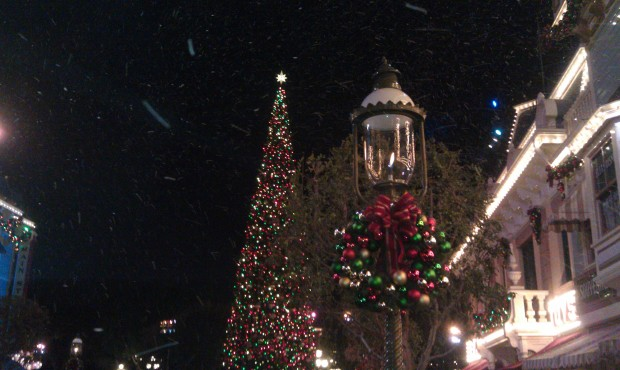 Snow during the White Christmas finale on Main Street USA