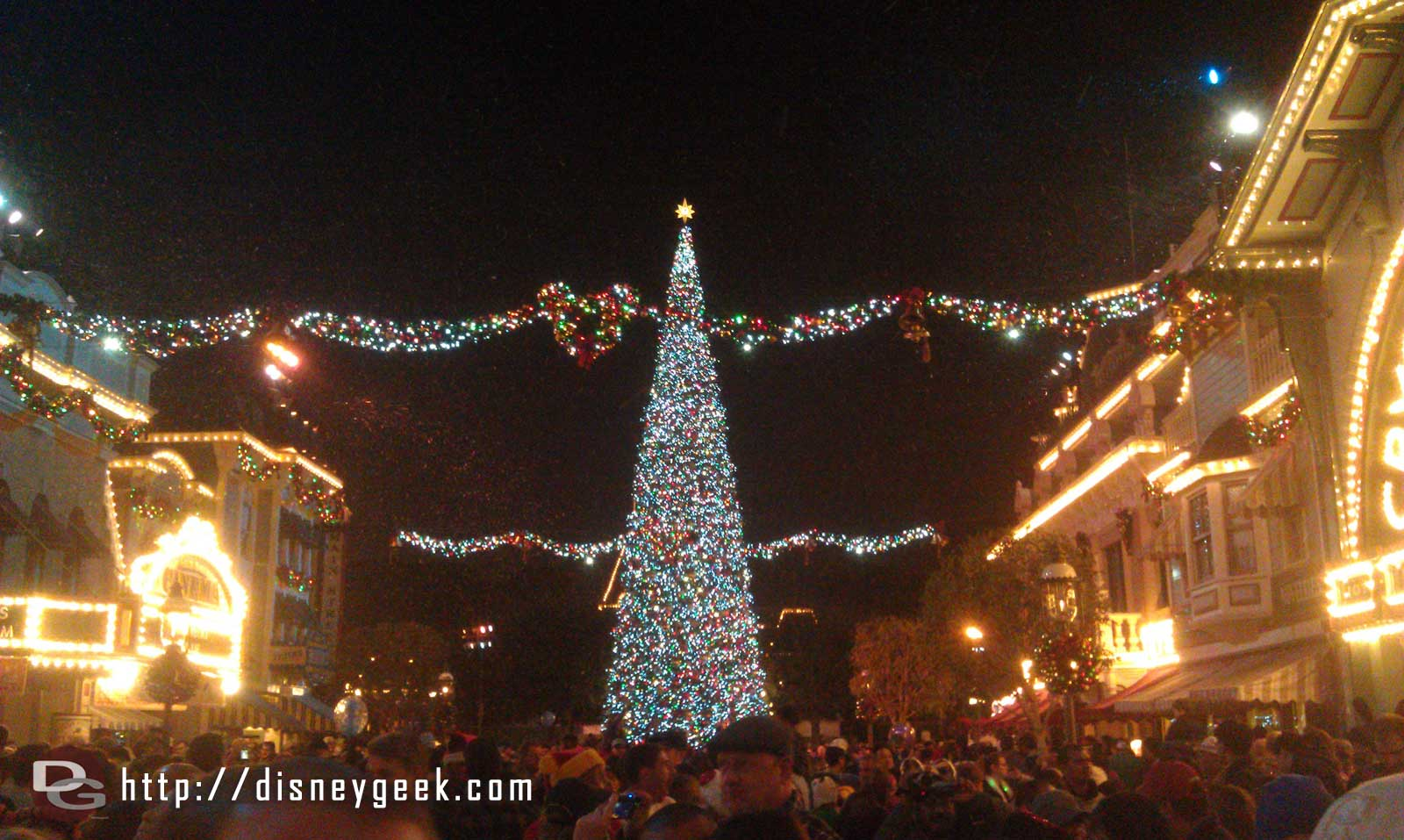 Snow falling on Main Street