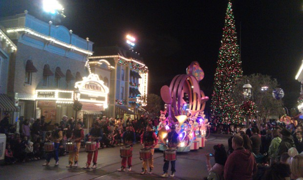 Soundsational making its way down Main Street with the Christmas tree in the background.