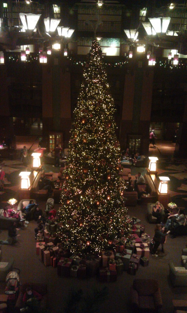The Grand Californian decoarations are up.  Here is the tree in the lobby.