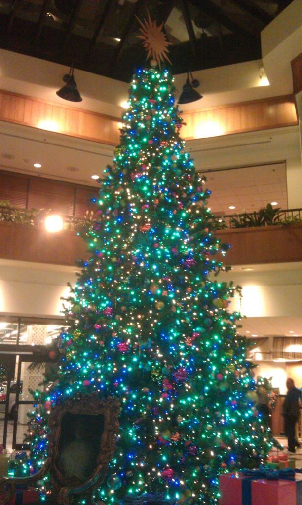 The Paradise Pier Hotel lobby tree.