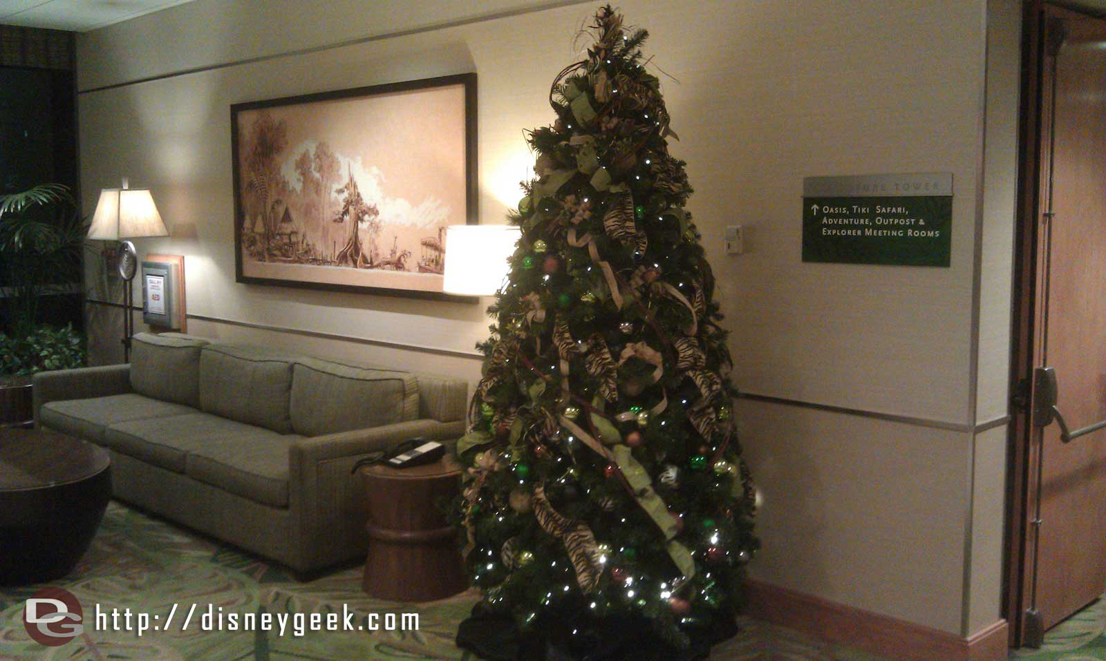 To round out my lobby tour, the small tree in the Adventure Tower lobby.