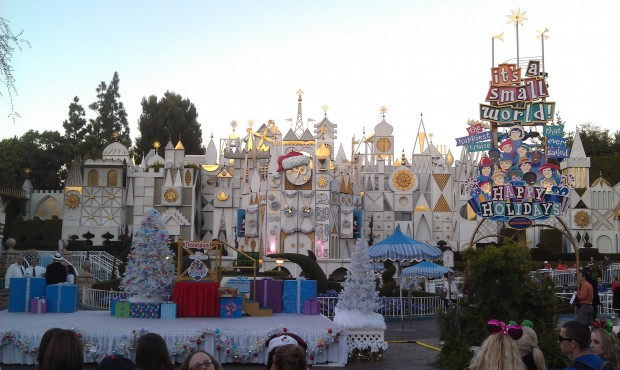 Waiting for the Small World lighting ceremony