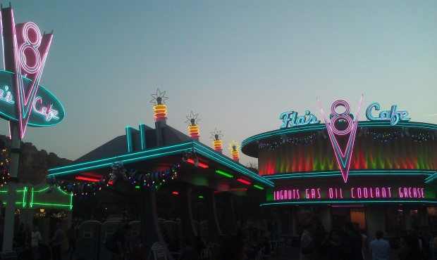 A favorite time of day in #CarsLand  the lights coming on while Winter Wonderland plays.