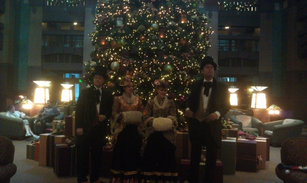 Dickens Carolers in the Grand Californian lobby.