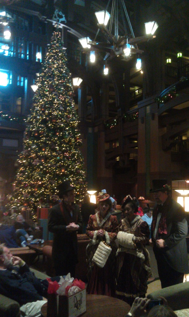 Dickens Carolers in the Grand Californian lobby.