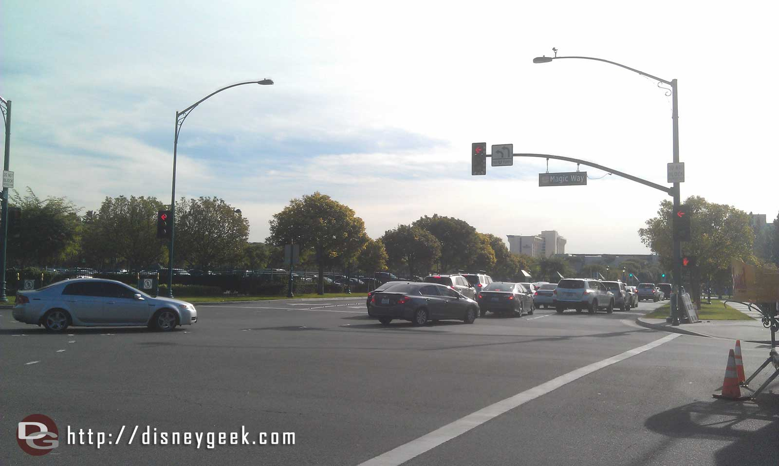 Downtown Disney is backed up to Magic Way too with cars stretching to Disneyland Drive