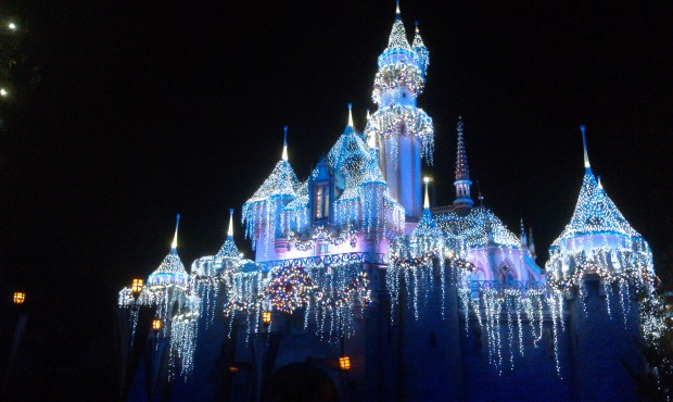 Sleeping Beauty Castle during a Wintertime Enchantment moment