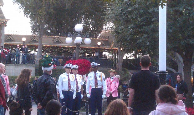 The Dapper Dans & security honor guard at the flag retreat.