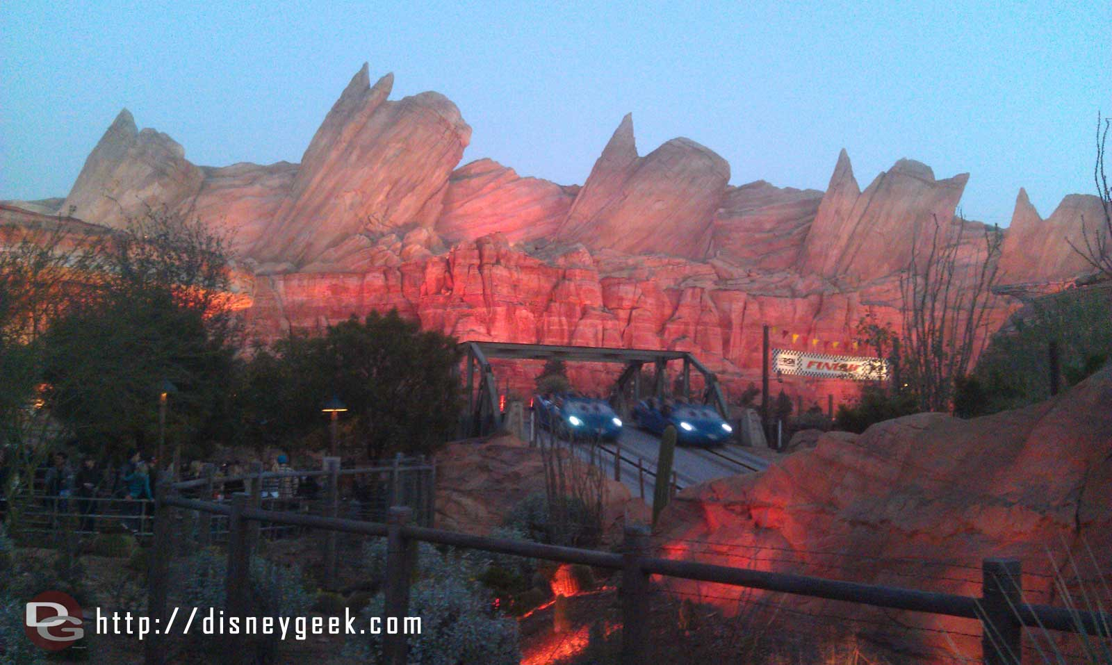 The Radiator Springs Racers as the sun is setting this evening in #CarsLand