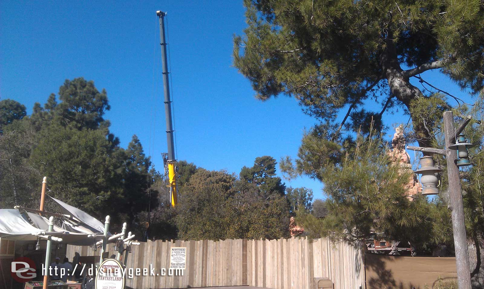 A crane is out along the Big Thunder trail this afternoon as the work begins on the attraction