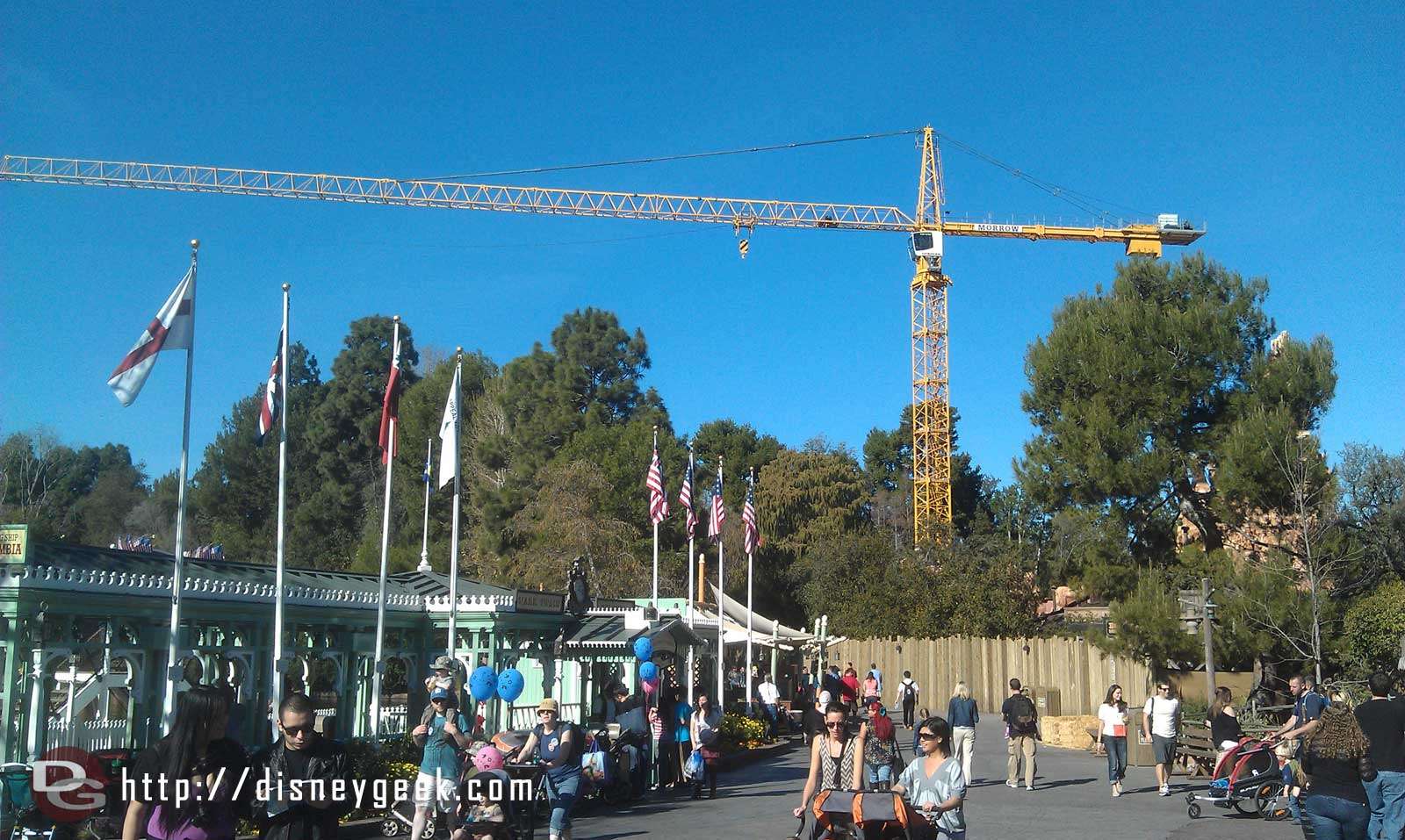 A large tower crane is in place for the Big Thunder work.