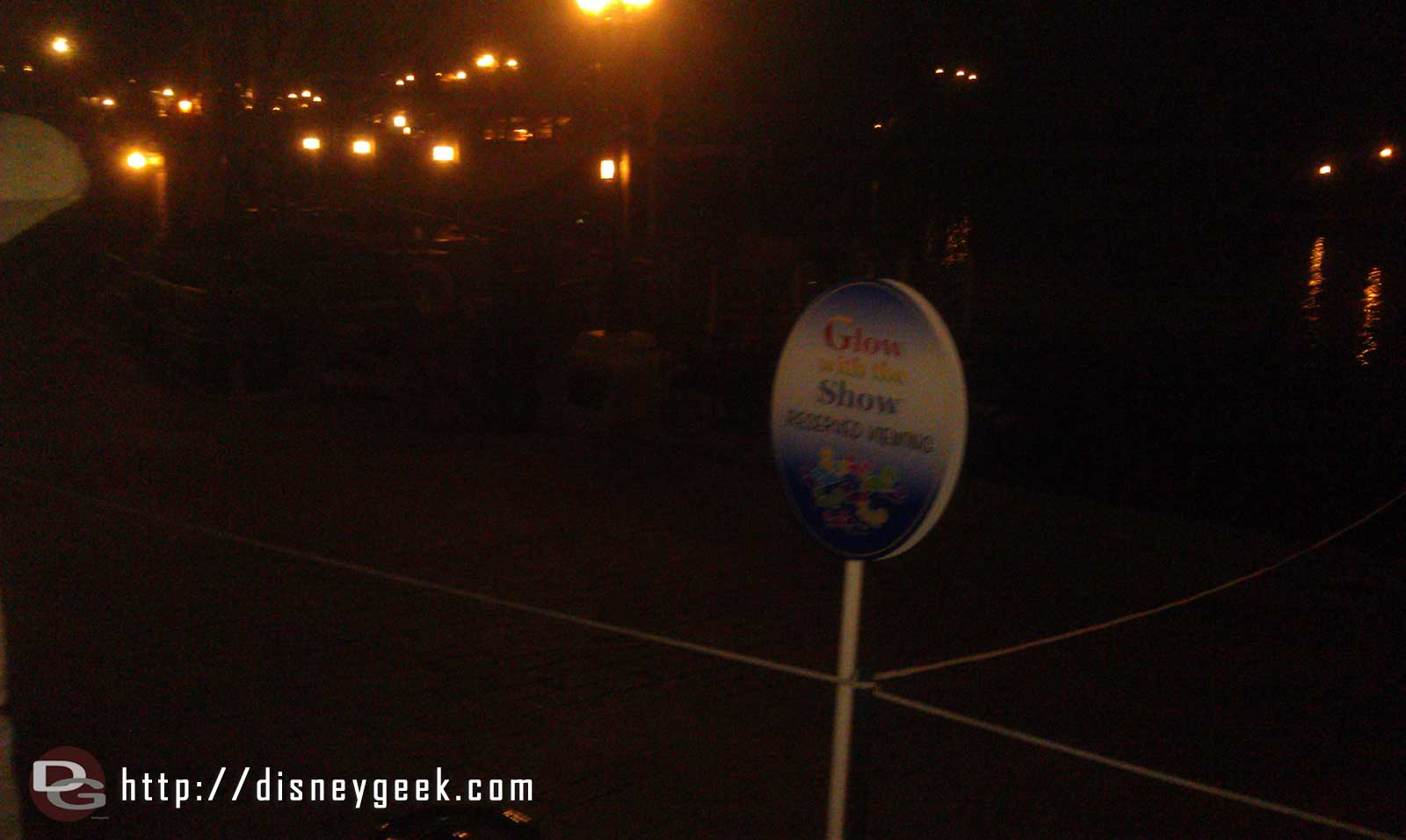 An area near the TSI Raft dock is roped off for Glow With the Show Ears for Fantasmic
