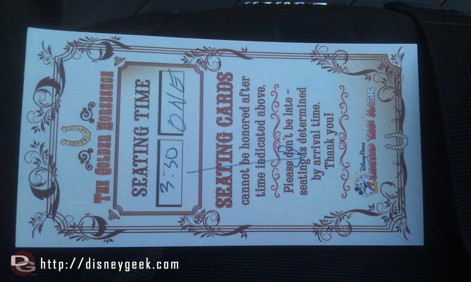 Golden Horseshoe Revue ticket