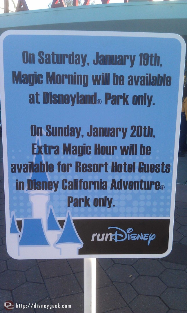 If you are visiting the parks this weekend note the changes to the early entry because of the races.