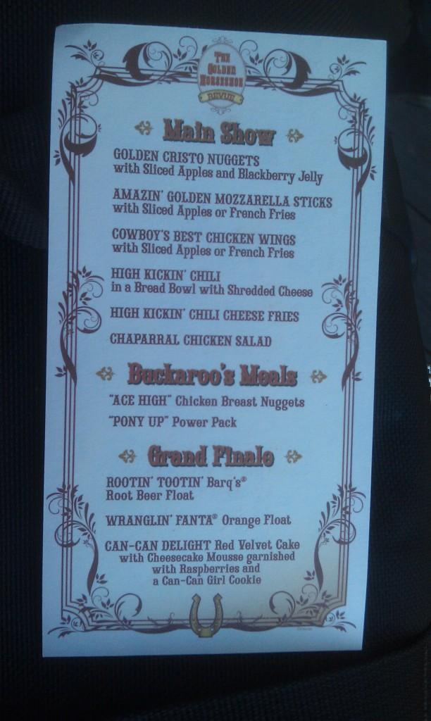 On the back a menu