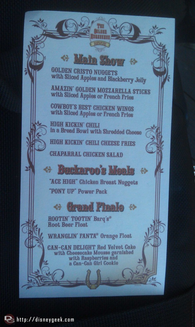 On the back a menu