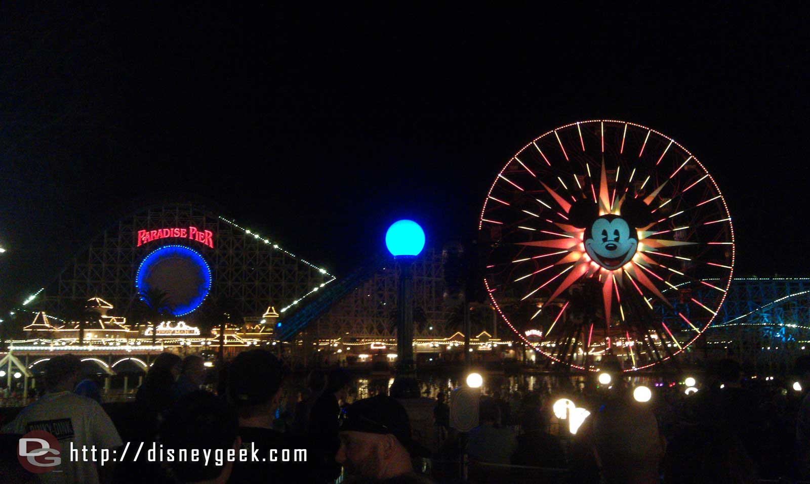 Paradise Pier, only a couple minutes until World of Color