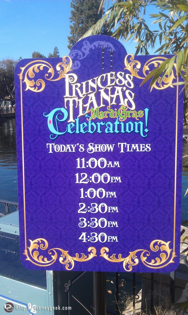 Show times for the Mardi Gras Celebration