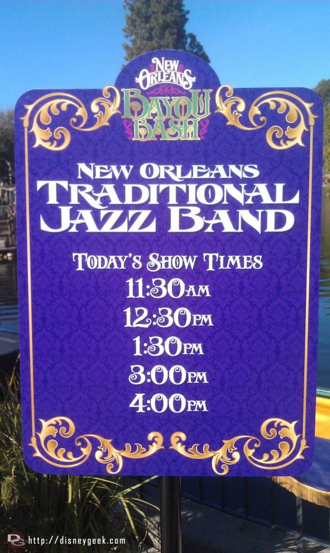 Showtimes for the traditional Jazz Band