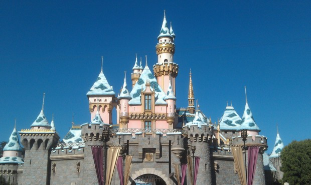 Sleeping Beauty Castle this afternoon.  Only the snow remains.