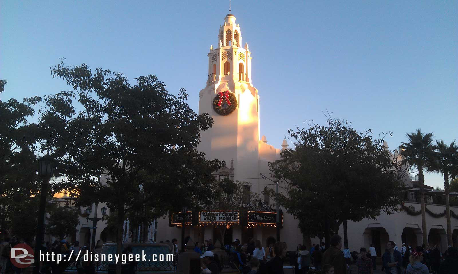 The Carthay Circle Restaurant as the sun is setting