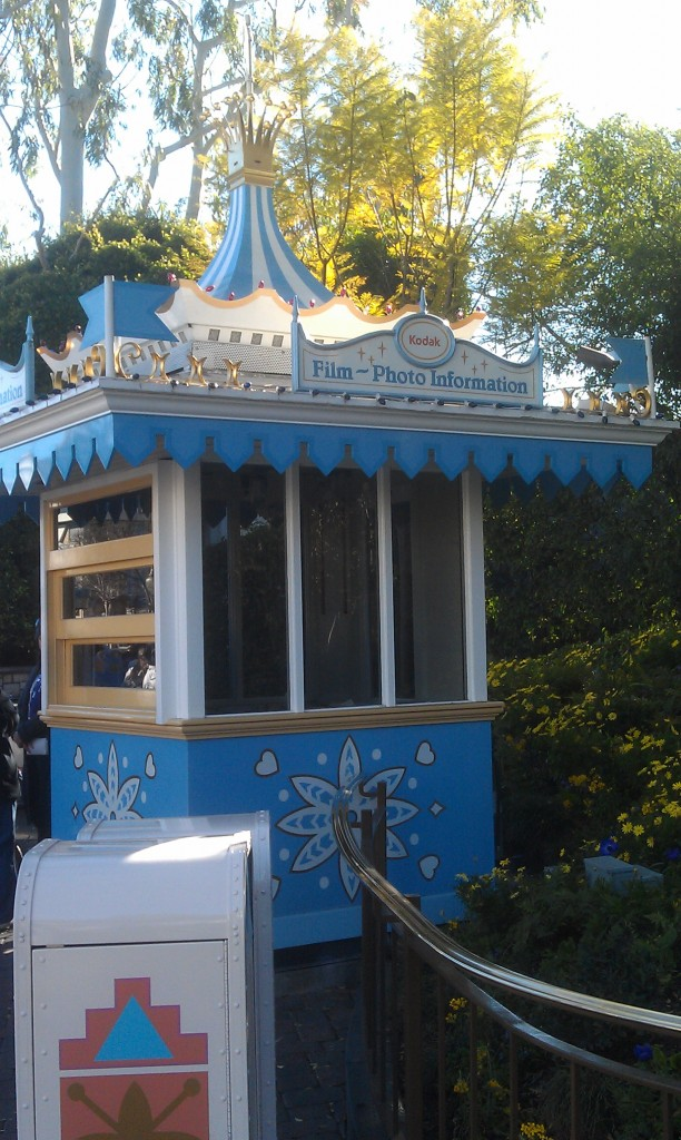 The Kodak booth by Small World is closed and no merchandise inside.