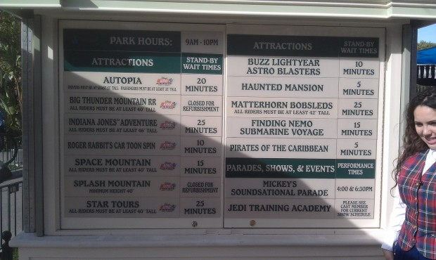 Current #Disneyland wait times, a nice quiet afternoon.  Longest posted wait 25 min for Space, Indy, & Matterhorn