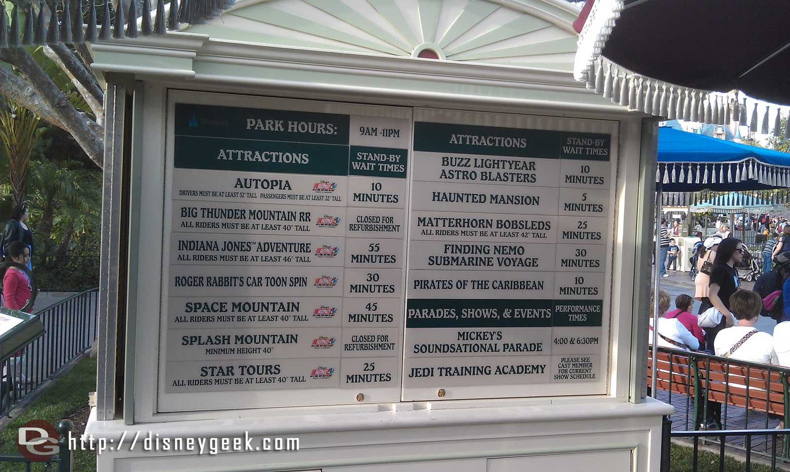 Current #Disneyland waits, going up as more guests finish school and work for the week and arrive