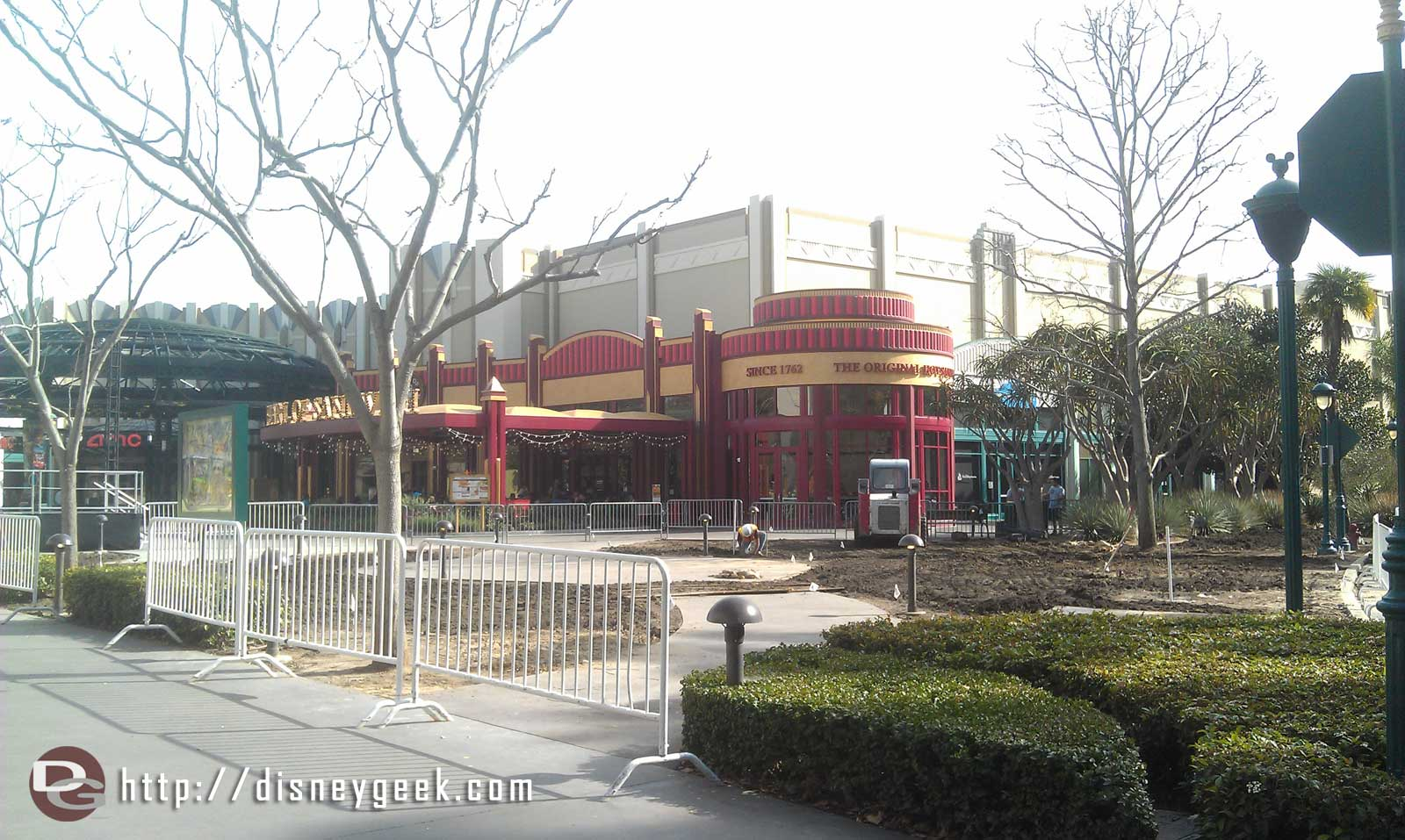 Just arrived at the #Disneyland Resort.  Still working on replacing the lawn where the ice rink was.