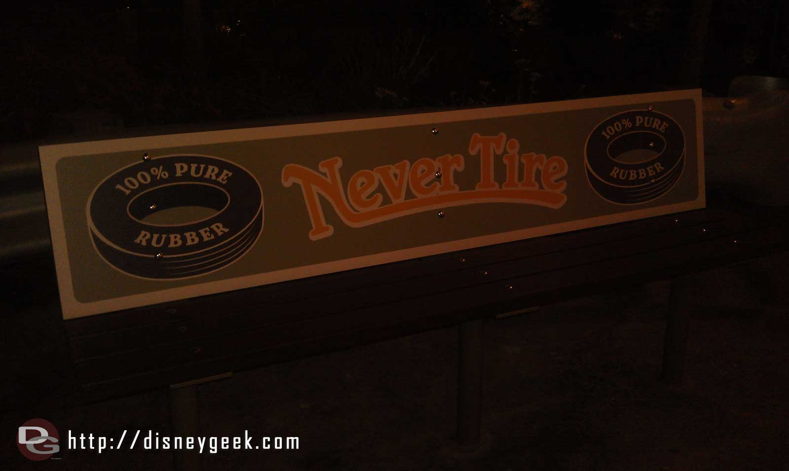 Never Tire benches near the Flying Tires