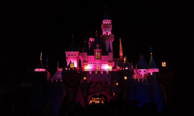 Sleeping Beauty Castle, some red lights on it this evening.  Are they still doing projections?