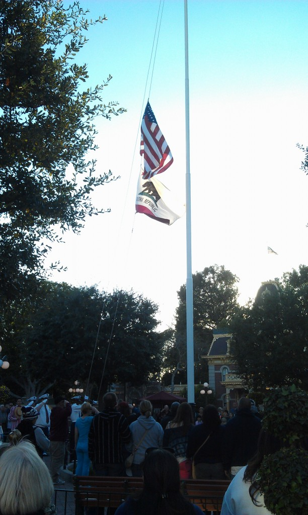 The nightly Flag Retreat in Town Square