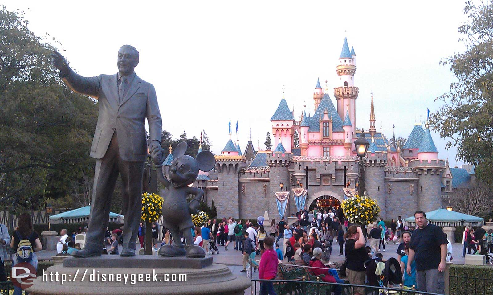 Walt, Mickey, and Sleeping Beauty Castle this evening.