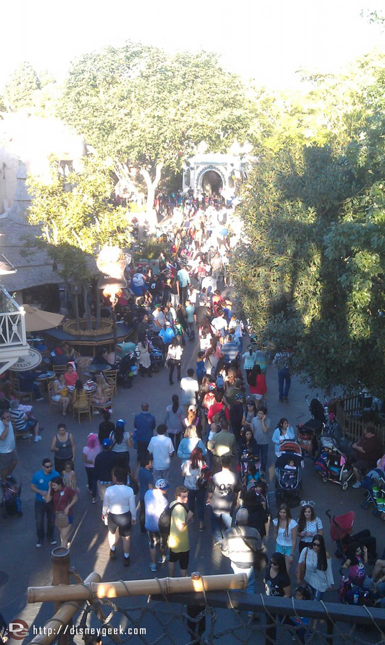 A look down at a busy Adventureland from Tarzan's Treehouse