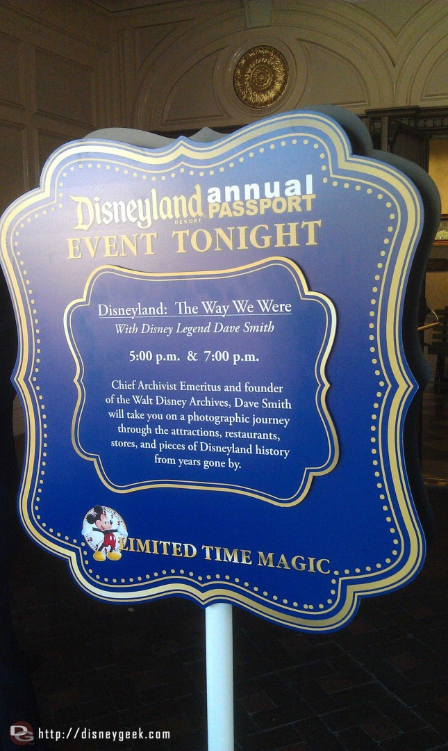 Dave Smith presents Disneyland: The Way We Were today for Annual Passholders