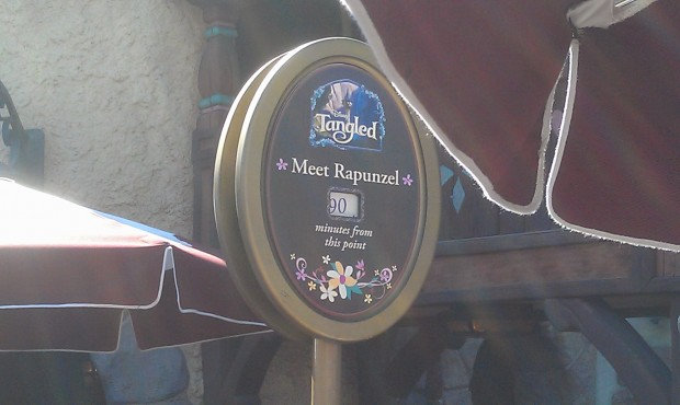 Fantasy Faire has not shortened the Rapunzel wait, posted at 90 min