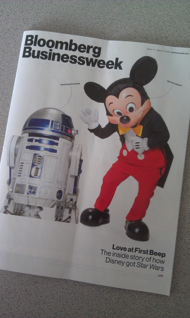 Making my way through my backlog of snail mail for the week, did everyone catch Businessweek? Disney/Lucas cover
