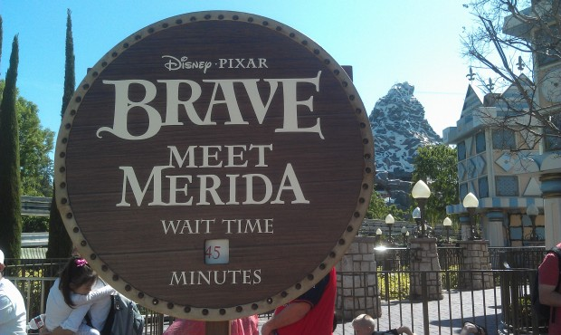 Merida's wait, posted at 45 min.