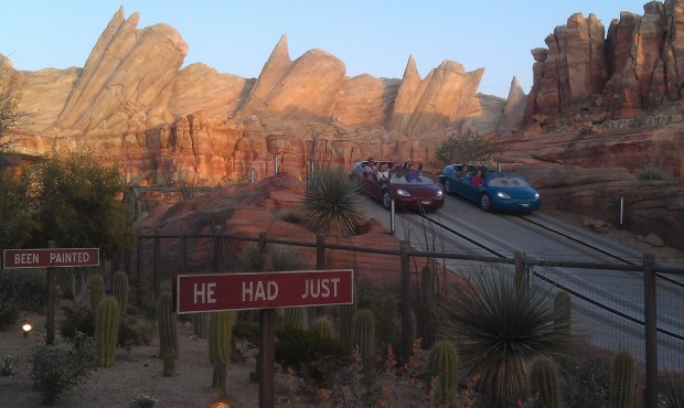 Ornament Valley this evening, Radiator Springs Racers only 105 minutes this evening