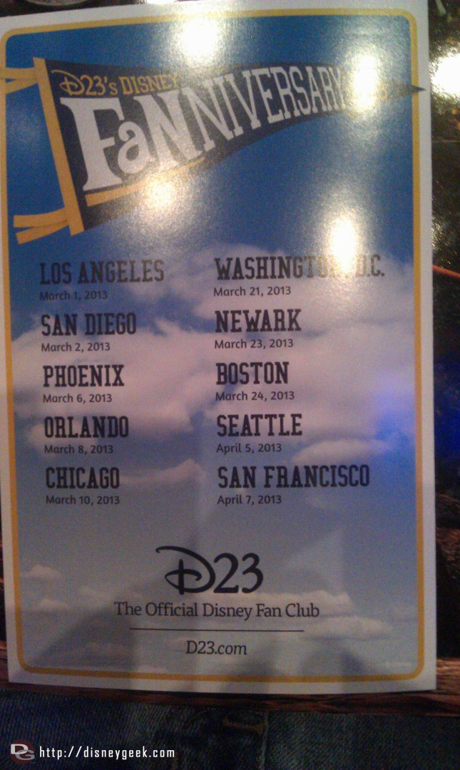 The D23 #Fanniversary is visiting ten cities this round.  Here is the schedule.