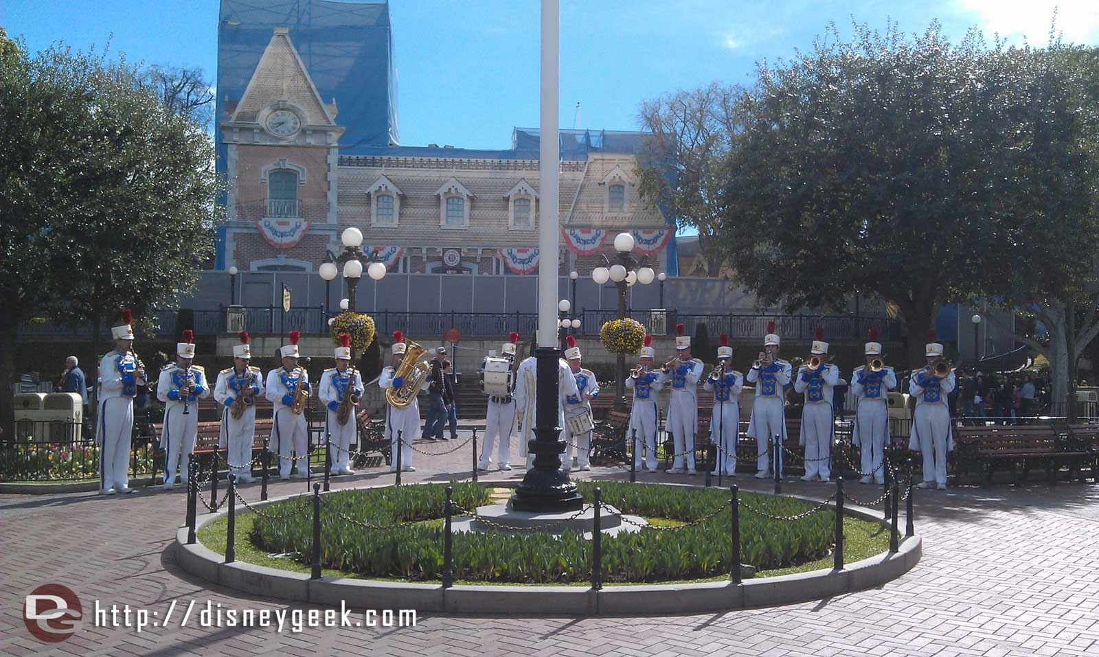 The Disneyland Band arriving in Town Square for a concert