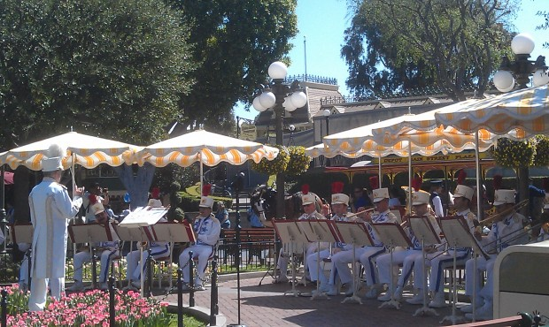 The #Disneyland Band in Town Square for a concert