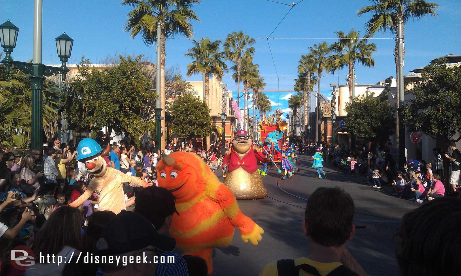 The Pixar Play Parade making its way up Hollywood Blvd to Carthay Circle
