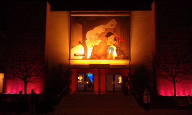 The outside of the theater where the D23 #Fanniversary was tonight.