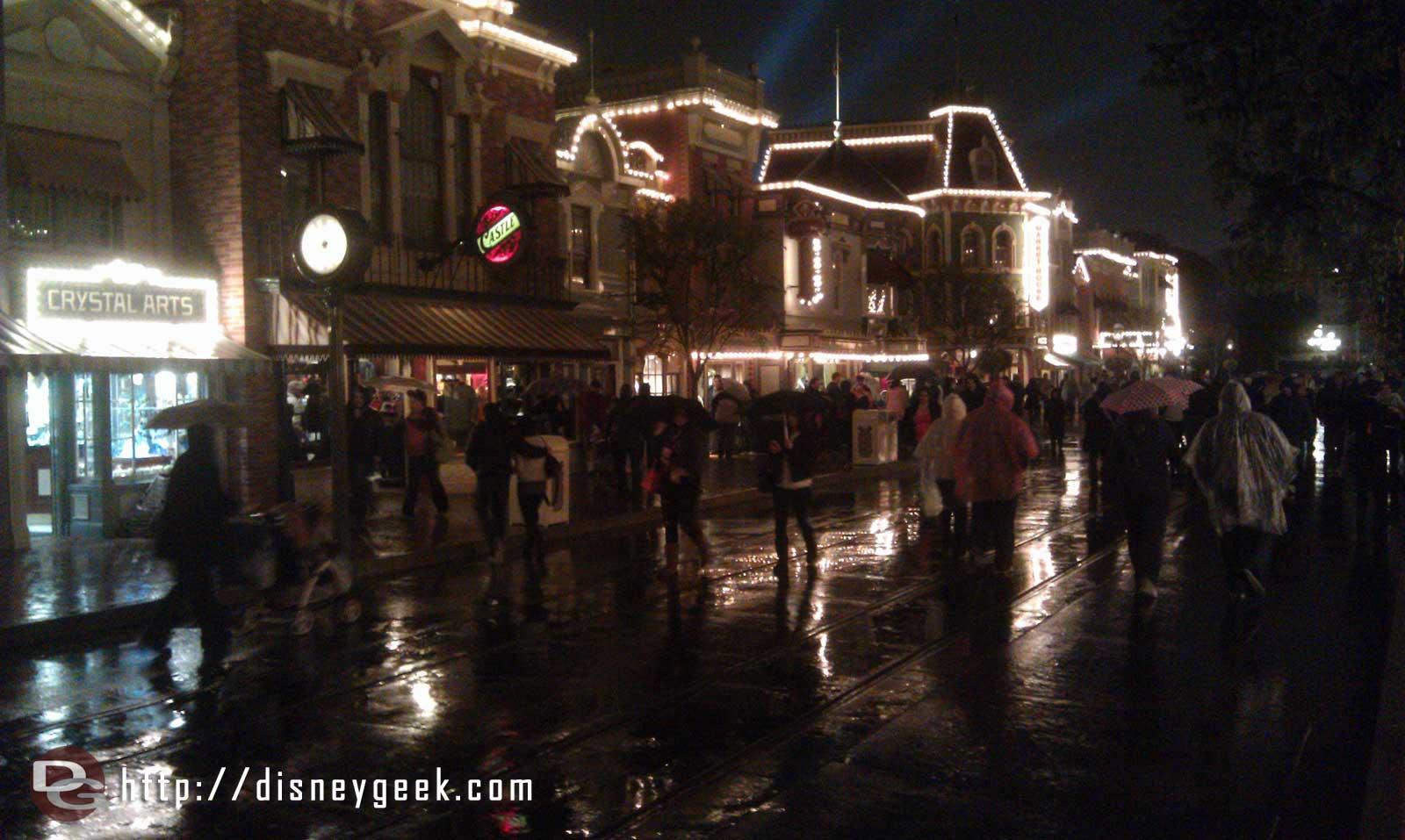 The rain has begun. A look at Main Street
