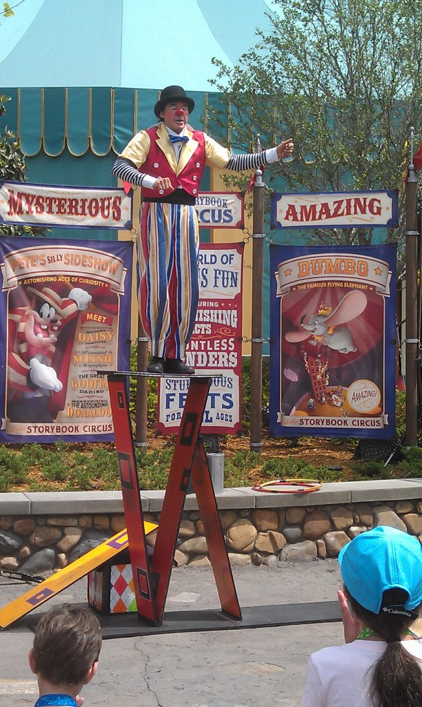 A performer on the way into Storybook Circus