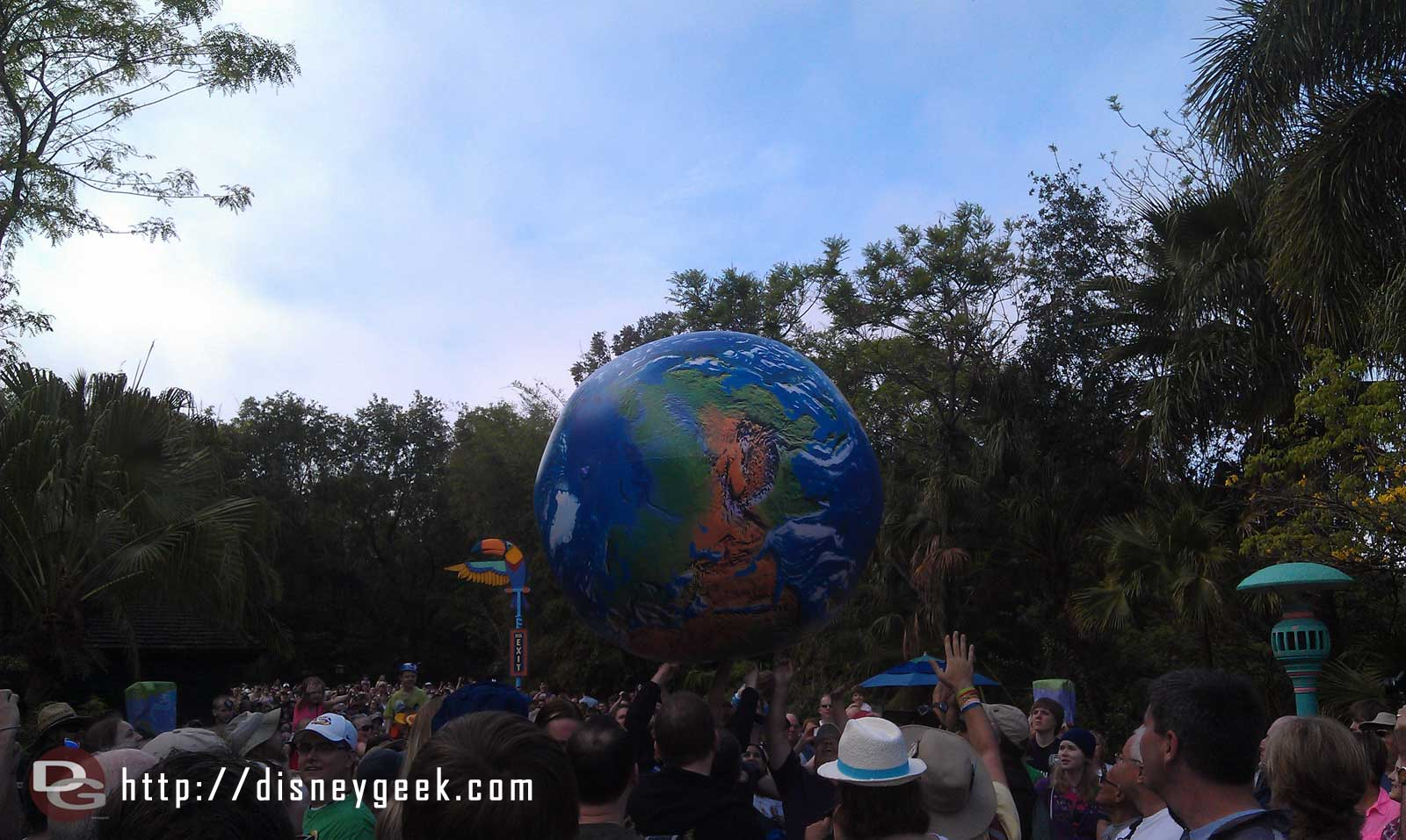 An Earth ball bouncing around the crowd #DAK15