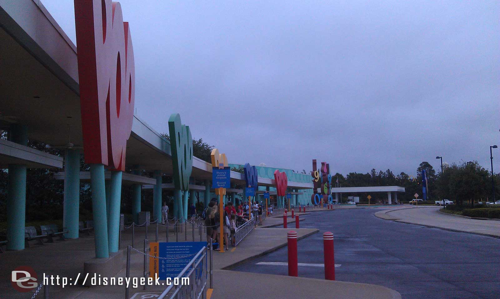 Another cool and cloudy morning at the Pop Century bus stop