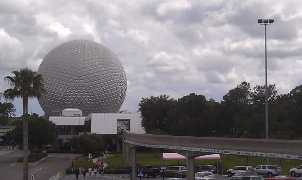 Approaching Epcot, a better view of the tent I noticed yesterday. It is for an event Thurs I think